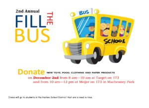 FILL THE BUS!  December 2, 8:oo am to Noon @ Target on 173 & Meijer on 173